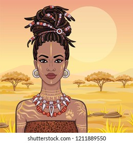 Animation portrait of the young beautiful African woman  in a dreadlocks. Savanna princess, Amazon, hunter. Background - a landscape the desert. The place for the text. Vector illustration.