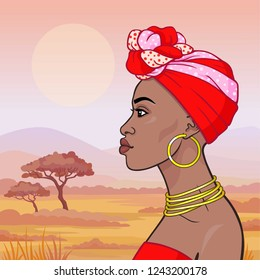 Animation portrait of the young beautiful African woman in ancient clothes and jewelry. Profile view. Color drawing.  Background - a landscape the savanna. Vector illustration.