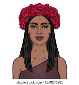 Animation portrait of the young beautiful African woman with long black hair and wreath of red roses. Color drawing. Template for use. Vector illustration isolated on a white background.