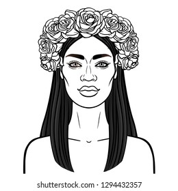 Animation portrait of the young beautiful African woman  in a wreath from roses.  Monochrome drawing. Vector illustration isolated on a white background. Be used for coloring book. print, poster, card