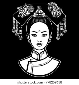 Animation portrait of the young beautiful Chinese girl with an ancient hairstyle. White vector illustration isolated on a black background. Print, poster, t-shirt, card.