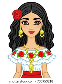 Animation portrait of the young beautiful Mexican girl in ancient clothes. The vector illustration isolated on a white background.