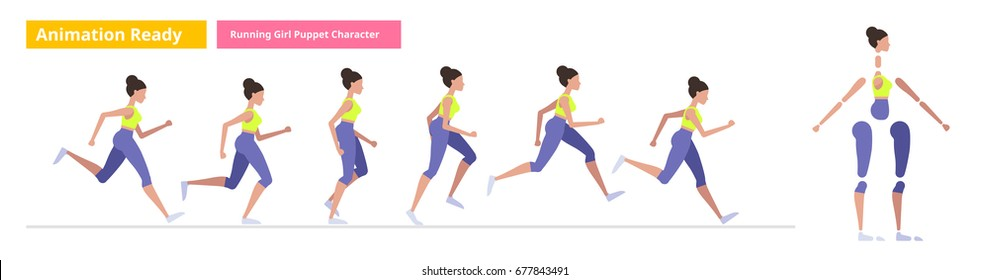 Animation Ready Vector Puppet of a running girl. Isolated vector illustration of running poses