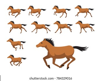Animation Sequence Horse Running Cartoon Vector Illustration