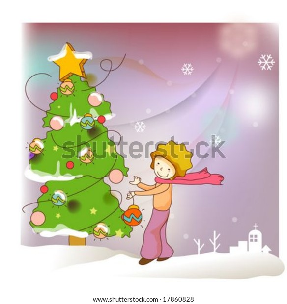 Prince Christmas Decorations.Animation Sketch Enjoying Cute Little Prince Stock Vector