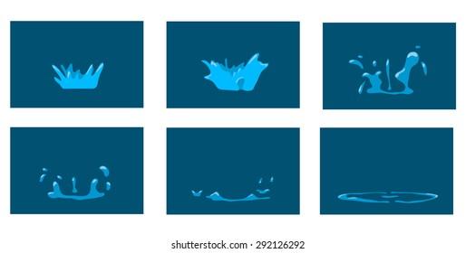 Animation splash. Cartoon splash frames