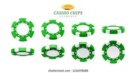 Animation sprites for realistic casino chips or frames for gambling empty tokens flip, cycles of movement for plastic blank chips. Can be used for gif animation at online casino. Gamble theme
