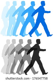 Animation style sequence of business person starting to walk confidently forward