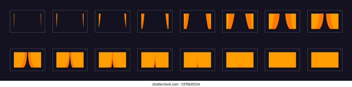 Animation transitions effect. Sprite Sheet of transitions. Ready frame by frame animation for games, cartoon or animation. yellow color scene transition effect.  Animation transitions effect 24