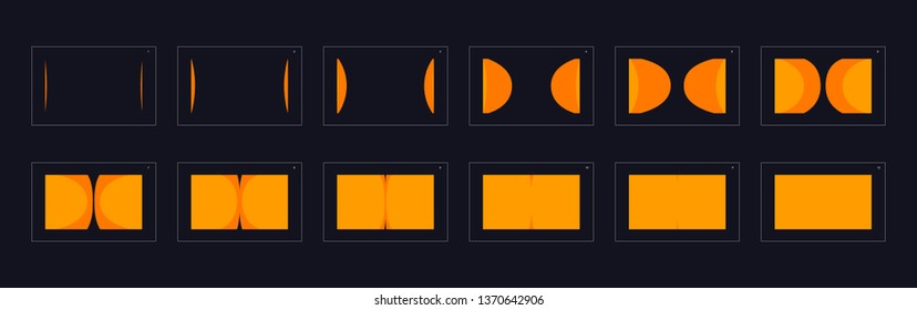 Animation transitions effect. Sprite Sheet of transitions. Ready frame by frame animation for games, cartoon or animation. yellow color scene transition effect. Animation transitions effect 31