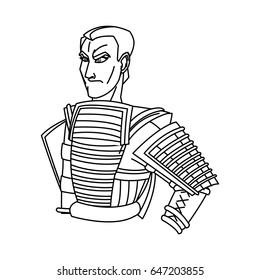 animation warrior man samurai to ancient clothes.
