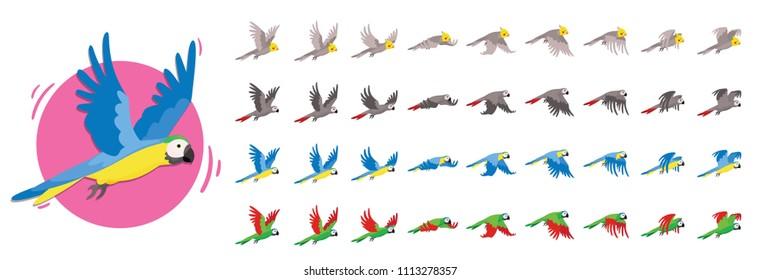 Animationen, die der Vogel fliegt. Papageienanimationen. Satz von Sprite-Vogel fliegt.