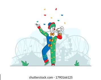 Animator Character in Funny Clown Suit, Boots, Green Wig and Neck Tie Yelling in Loudspeaker in Amusement Park. Big Top Tent Artist Announcement, Buffoon Yell to Megaphone. Linear Vector Illustration