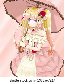 An anime blonde hair twin tail girl in pink  dress holding umbrella.