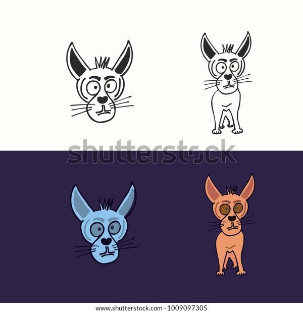 Anime Cartoon Dogs Set Horror Vector Stock Vector Royalty Free