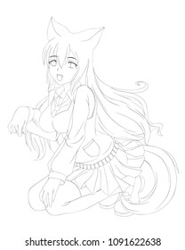 anime cartoon style. Cute fox girl. Vector illustration. Can be used for coloring book, or cards.