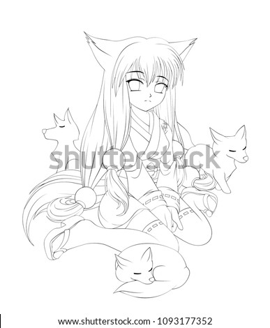 Anime Cartoon Style Cute Fox Girl Stock Vector Royalty Free
