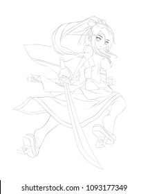 anime cartoon style. Cute samurai girl. Vector illustration. Can be used for coloring book, or cards.