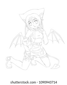 anime cartoon style. Cute succubus girl. Vector illustration. Can be used for coloring book, or cards.