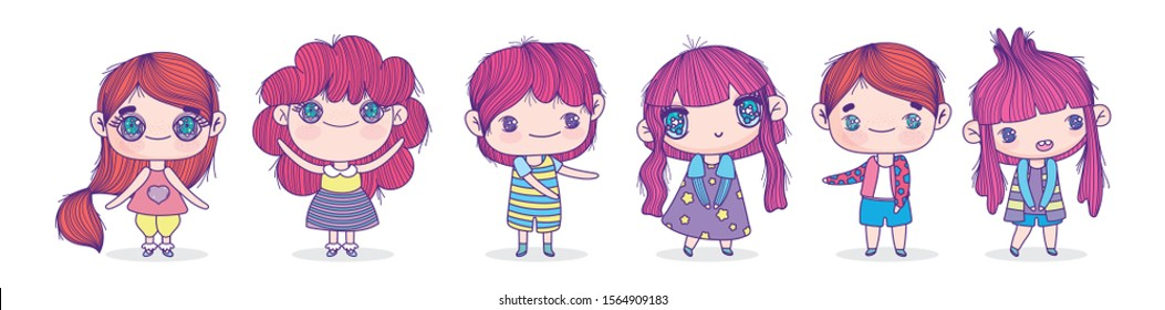 anime cute little boys and girls characters vector illustration