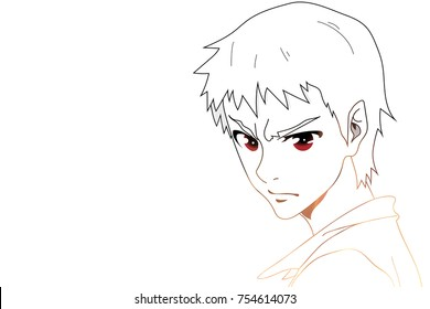 Anime eyes. Anime face with red eyes on white background for cartoon. Vector illustration