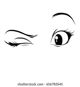 Anime eyes on a white background. A glance, a wink. Vector girl eyes.