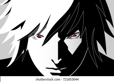 Anime eyes. Red eyes on black and white background. Anime face from cartoon. Vector illustration.