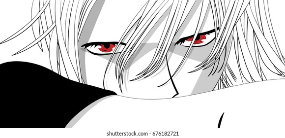 Anime eyes. Red eyes on white background. Anime face from cartoon. Vector illustration.