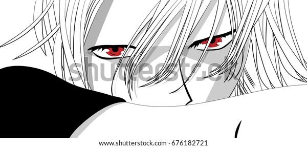 Vetor Stock De Olhos De Anime Olhos Vermelhos No Livre De
