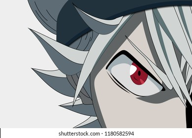 Anime face from cartoon with anime red eyes on white background. Vector illustration