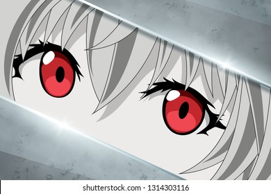 Anime face character from cartoon. Manga hero in japanese style