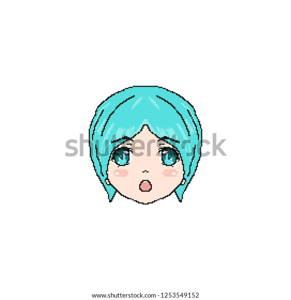 Anime Face Chat Pixel Cartoon Avatar Stock Vector Royalty Free 1253549152