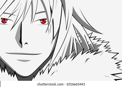Anime face with red eyes from cartoon. Web banner for anime, manga on white background. Vector illustration