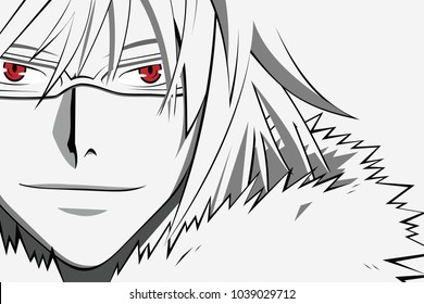 Anime face with red eyes in glasses from cartoon. Web banner for anime, manga on white background. Vector illustration