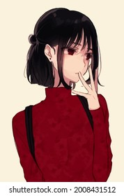Anime girl with black hair and a red sweater.