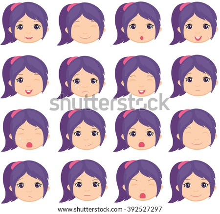 Anime Girl Emotion Joy Surprise Fear Stock Vektorgrafik Lizenzfrei