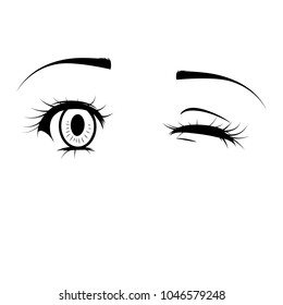cartoon wink images stock photos vectors shutterstock rh shutterstock com Cartoon Winking Eye Large Winking Eye Clip Art