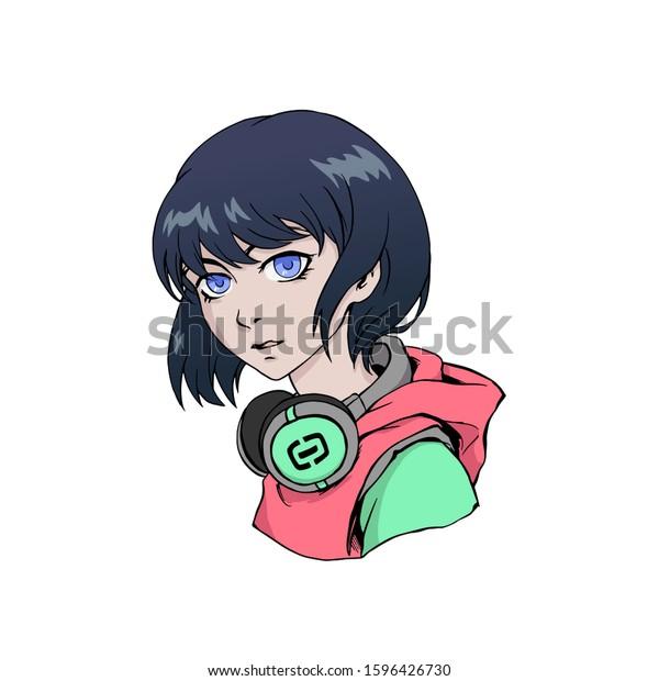 Anime Girl Headphones Colorful Illustration Waifu Stock Vector Royalty Free 1596426730