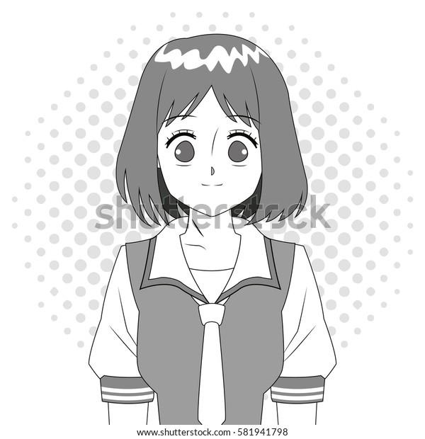 anime girl japanese character black and white