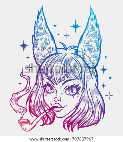 Anime Girl Kawaii Girl Fox Ears Stock Vector Royalty Free