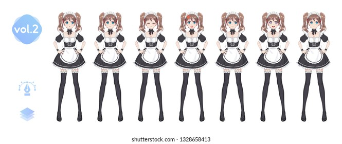 Anime manga girl, Cartoon character in Japanese style. Costume of maid cafe. Set of emotions. Sprite full length сharacter for game visual novel