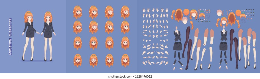 Anime manga girl cartoon characters for animation, motion design. Initial default pose. Parts of body, eight emotions, many parts of hands. Office business woman in jacket short skirt animation kit