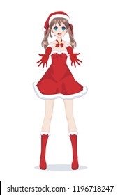 Anime manga girl dressed in Santa Claus costume showing product empty copy space on open hand palm. Portrait of beautiful Japanese Asian woman holding hands and copy space