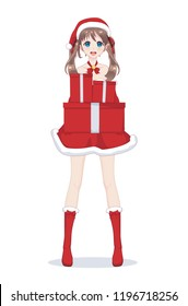 Anime manga girl dressed in Santa Claus costume. Portrait of beautiful Japanese Asian woman holding box with gift. Isolated white background