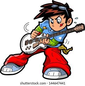 Anime Manga Rock Star Guitar Player