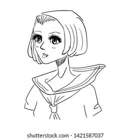 Anime manga style school girl vector outline black on white background