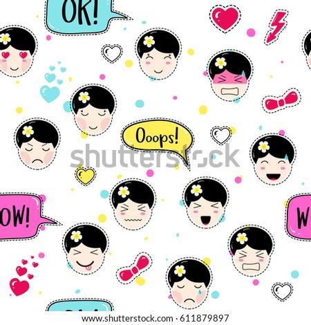 anime style seamless pattern cute emoji stock vector royalty free