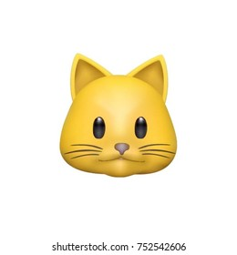 animoji cat, yellow funny character emoji, realistic design, IphoneX, vector illustration