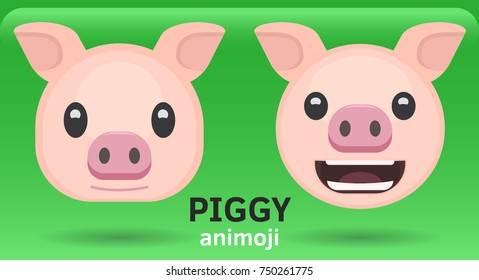 Animoji pig, two facial expressions, flat vector illustration