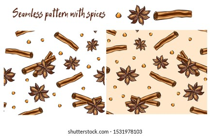 Anise star sketches set. Single, batch and composition with cinnamon sticks. Seamless pattern with spices. Cinnamon, star anise, anise seed. Watercolor pattern. Textile, kitchen, cafe.